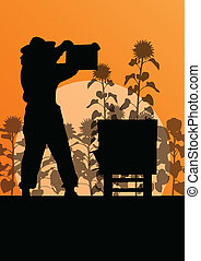 girasol, trabajando, cartel, apicultor, campo, vector, plano...