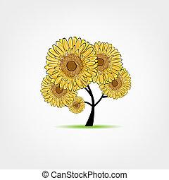 girasoli, schizzo, albero, tuo, disegno