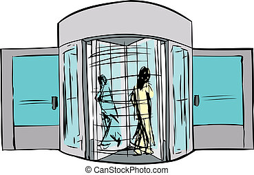 giratorio, puerta, dos personas