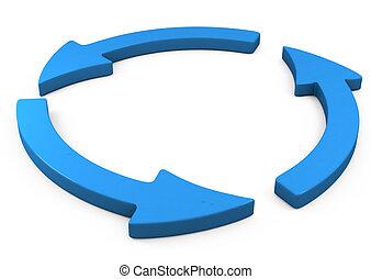 gire, el, azul, flecha