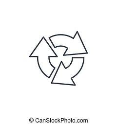 gire, linear, símbolo, três, refrescar, vetorial, magra,...