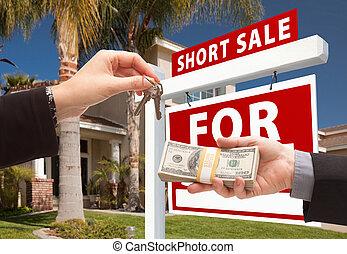 giren, kort, stämm, hus, över, kontanter, realisation signera