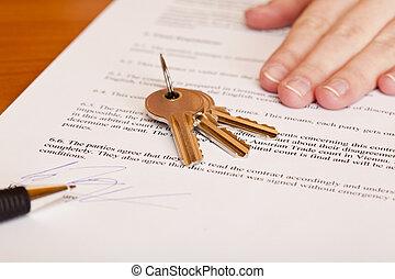 giren, stämm, hus, över, efter, undertecknande kontrahera, försäljning