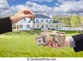 giren, stämm, hus, över, kontanter, främre del, hem