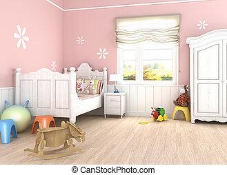 girlâ´s, slaapkamer, roze