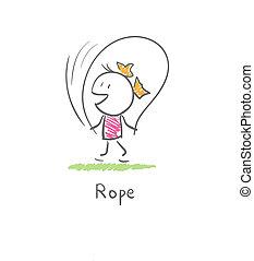 girl, à, a, corde à sauter