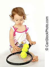 girl, à, a, raquette, et, balls.