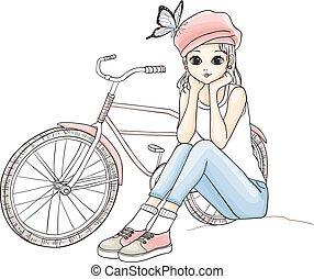 girl, à, a, vélo