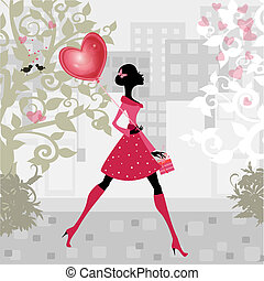 girl, à, a, valentines, balloon