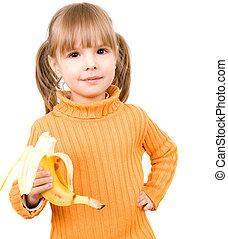 girl, à, banane