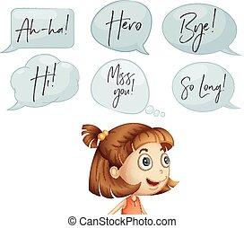 girl, à, différent, parole, bulles