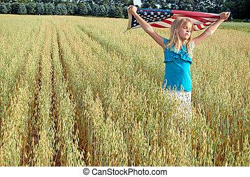 girl, à, drapeau américain