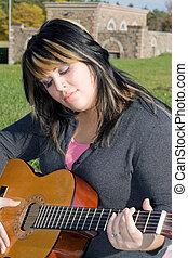 girl, à, elle, guitare