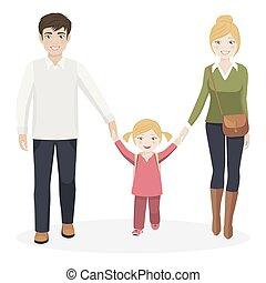 girl, à, elle, parents, marcher école