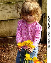 girl, à, fleurs