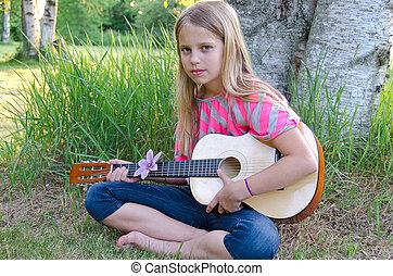 girl, à, guitare, dehors