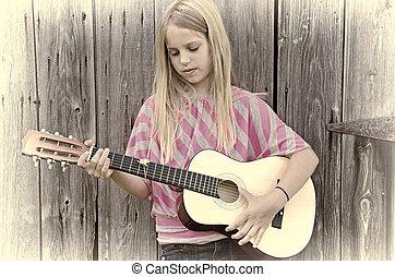 girl, à, guitare