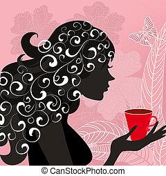 girl, à, les, fleur, thé