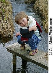 girl, à, les, rivière