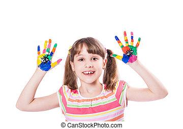 girl, à, mains, dans, peinture