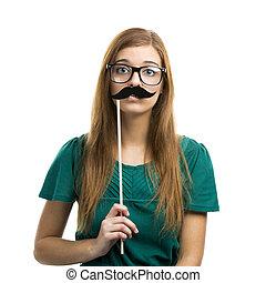 girl, à, moustache