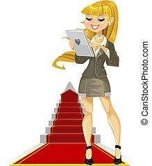 girl, à, ordinateur portable, sur, reussite, échelle