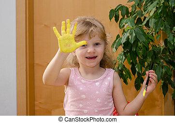 girl, à, peint, main