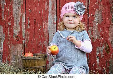 girl, à, pomme