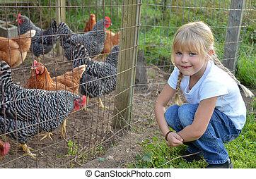 girl, à, poulet