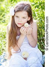 girl, à, poulets