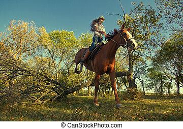girl, à, purebred, cheval