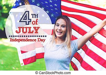 girl, à, une, drapeau américain, sur, les, quart juillet