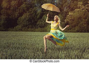 girl, à, une, parapluie, levitates