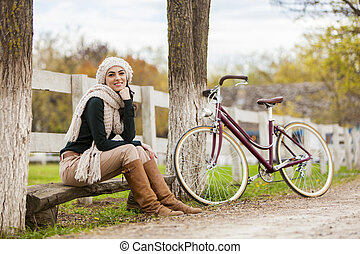 girl, à, vélo