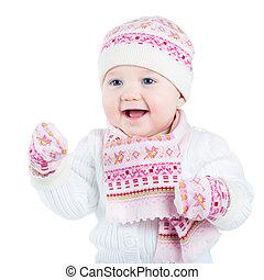 girl, écharpe, bébé, porter, chapeau, chaud
