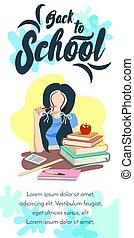 girl, école, bannière, dos, vertical