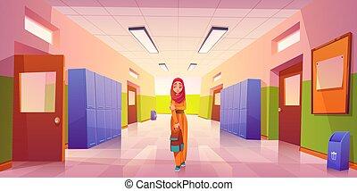 girl, école, couloir, musulman, solitaire, triste