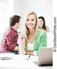 girl, école, ordinateur portable, étudiant, sourire
