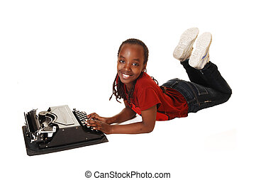 girl, école, typewriter.