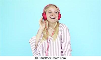 girl, écoute, musique, écouteurs, danse