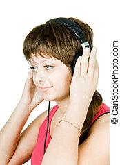 girl, écouteurs, adolescent