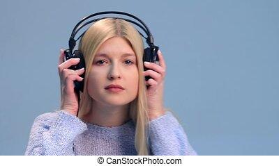 girl, écouteurs, musique écouter, joli