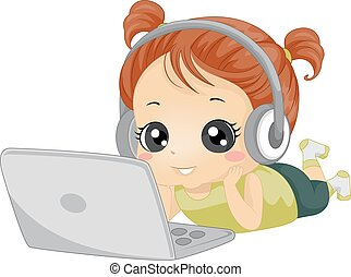 girl, écouteurs, ordinateur portable, gosse