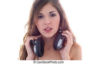 girl, écouteurs, séduisant
