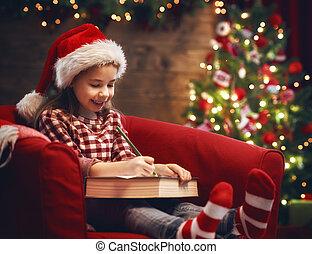 girl, écrit,  Santa, lettre