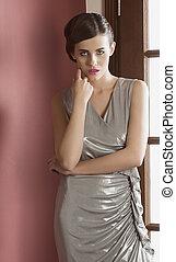 girl, élégant, robe, mignon