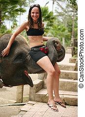 girl, éléphant