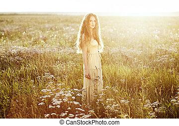 girl, été, beauté, jeune, été, field., beau