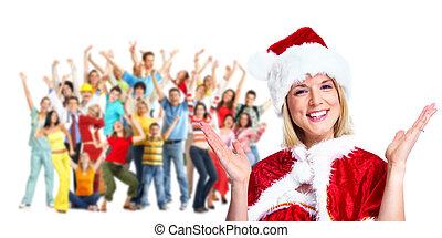 girl., パーティー。, クリスマス, santa, 幸せ