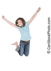 girl, 3, jeune, sauter